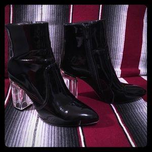 Public Desire black patent ankle boot
